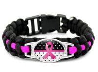 Atacado 300 pcs new 7 estilos Rosa Breast Cancer Lutador Esperança Consciência Da Fita Paracord Pulseiras Azul Amarelo Preto Acampamento Ao Ar Livre