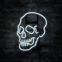 "17"" x14"" Skull Shape Sport Bistro Neon Light Sign S..."