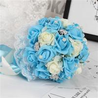 Bouquet da sposa rosa Fiori con fiori fatti a mano Schiuma Rose artificiali bouquet da sposa Fiori eleganti da cerimonia nuziale Maid of honor bouquets