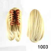 Atacado-12Inch 8 Colora Clip em Bangs For Women Fake Hair Blonde Ponytail Hairpiece Perucas Black / Brown Claw On Hair Extension