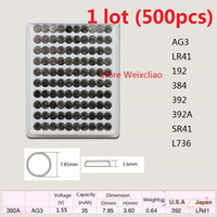 500 قطع 1 وحدة AG3 LR41 192 384 392 392A SR41 L736 1.55 فولت بطاريات زر خلية البطارية القلوية عملة صينية حزمة شحن مجاني