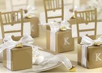 Gümüş Altın Sandalye BOMBONIERE Şeker Kutusu Düğün Favor Hediye Kutusu Düğün Süsleme Şeker Kutuları Kalp kolye kurdele ile