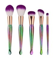 5PCS SET Mermaid Brush Spiral Makeup Brush Set Cream Face Po...