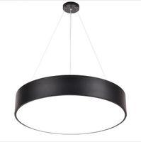 Moderne Minimalismus LED Pendelleuchte Runde Kronleuchter Schwarze Beleuchtungsvorrichtungen für Bürostudienzimmer Wohnzimmer Schlafzimmer AC85-265V