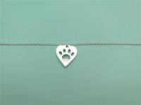 Pulsera linda del encanto de la pata del corazón del animal doméstico Pulsera del corazón del amor y de la pata Memorial Animal Puppy Bear Cat Dog Palm Imprimir pulseras