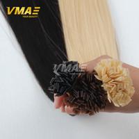 Dobrar Drawn Pré Bonded Queratina Hair Extensions pura cor lisa Dica Fusão cabelo 100pcs 1G Cada Plano Dica fios de cabelo brasileiro Virgin Humano