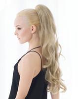 Yaz Marka At Kuyruğu kadın Glamour Uzun Kıvırcık Dalgalı Sarışın Ponytails Saç Uzantıları Parti Saç Giymek Pençe Klip Pony Tails