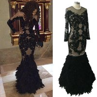 Hot African Mermaid Prom Dresses With Feathers Long Sleeves ...