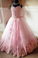 2018 Eye- catching Pink Lace Appliques Beads Flower Girl Dres...