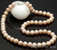 FFREE SHIPPING**8- 9MM Real Natural Pink Akoya Cultured Pearl...