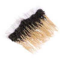 Ombre couleur 1 b 613 Cheveux humains dentelle fermeture frontale sombre racines blond crépus bouclés cheveux oreille à l'oreille front gratuit milieu moyen trois partie