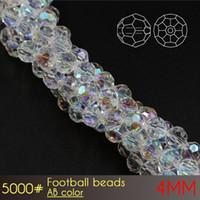 最高品質のガラスクリスタルカーテンラウンドビーズフットボールビーズ4mm ab色A5000 100ピース/セットジュエリーDIYメイクビーズ