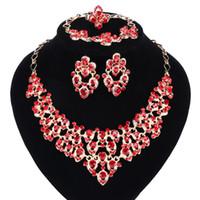 Top squisito Dubai Gold Colors Crystal Embedded Sciarpa Pattern Collana Bracciale Earring Anello perline African Branelli Set di gioielli