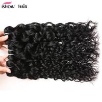 ISHOW 8A Brezilyalı Su Dalgası 4 Demetleri Atkı Islak Ve Dalgalı Virgin İnsan Saç Örgü Toptan Uzantıları Perulu Kadınlar Için Her YAŞ 8-28 inç Doğal Renk Siyah