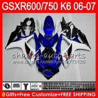 8Gifts 23Colors Body Для блеска синий SUZUKI GSX-R750 GSXR600 GSXR750 06 07 10HM35 GSX R600 R750 K6 GSX-R600 GSXR 600 750 2006 2007 Обтекание