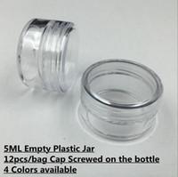 12pcs / sac en plastique 5 ml 5 grammes cosmétique pot de crème contenant un échantillon vitrine emballage cosmétique emballage mini ongles en plastique bouteille