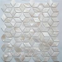 Pure color blanco 100% natural china cáscara de agua dulce madre de perla mosaico para la decoración del hogar azulejo de la pared estilo rombo