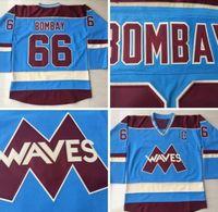 Blauw 66 Gordon Bombay Hockey Jerseys Goedkope Zeer zeldzame Nee Reserve Gordon Bombay Gunner Stahl Mighty Ducks Golven Hockey Uniformen