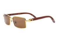 Online-Shop Vintage Rechteck Buffalo Horn Sonnenbrille Herren Sonnenbrille Full-Frame-Brille Hohe Qualität Lunettes De Soleil De Marque