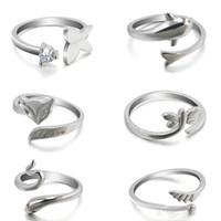 В новом горячих модах милых животных дельфин открытие кольца минималистского темперамент лис змей кольцо крыла