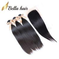 Естественный цвет шнурка Закрытие пачками 10 «-30» дюйм малазийский Straight Необработанные человеческих волос Пучки Бесплатная доставка