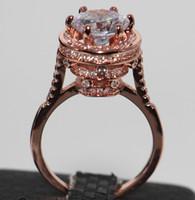 Victroria Wieck Gioielli fatti a mano in argento sterling 925 placcato oro rosa colomba uovo topazio taglio tondo pietre preziose donne anello fascia nuziale
