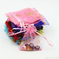 9 * 12 см (3.5' * 4.7' ) Мешок подарков органза шнурка сумка оптовых конфет сумка ювелирных изделия пакет сумка Свадебных подарки несколько цветов 500pcs много.