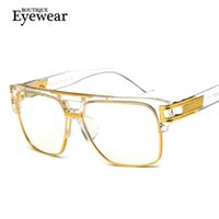 Wholesale- BOUTIQUE Fashion Women Semi-Rimless Retro Eyeglasses Men Square Metal Frame Glasses H1757