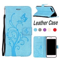 Blue Fllower PU Leather Phone Case For Iphone 7 7plus 6 6plu...
