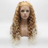 Iwona Saç Kıvırcık Uzun Bal Sarışın Kök Beyaz Ombre Peruk 18 # 27HR / 1001 Yarım El Bağlı Isıya Dayanıklı Sentetik Dantel Ön Peruk