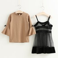 Everweekend Girls Halter Lace Dress with Bell Sleeve Tees 2p...