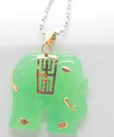 Colgante unisex de elefante de jade verde de moda y collar de 2 piezas + cadena libre
