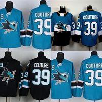 Hot Sale Mens 저렴한 산호세 상어 39 Logan Couture 최고의 품질 Black Blue 저렴한 최고의 Full 자수 로고 Ice Hockey Jerseys