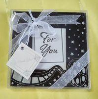 Hochzeitsgeschenke Liebe der Kamera Erinnerungen Glas Bilderrahmen Tischkartenhalter Coaster Tischset Tasse Matte 200 stücke (100 sets)