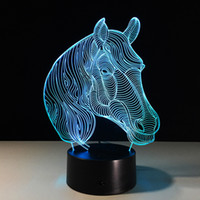 2017 Horse Station Illusion Night Lamp 3D Optical Lamp AA Ba...