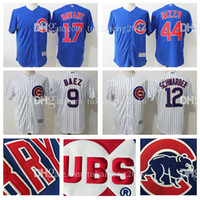 Men's Chicago Cubs 44 Anthony Rizzo 12 Kyle Schwarber Maillots de Baseball 9 Javier Baez 17 Kris Bryant Broderie MLB Cool Base Player Jersey
