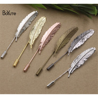 BoYuTe 20Pcs 5 colores plateados Vintage Style Brooch Base Fashion Diy Jewerly Findings Broche de plumas
