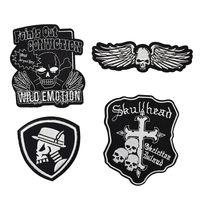 4 pz punk teschi badge patch per abbigliamento moto ferro sul trasferimento applique patch per indumento giacca fai da te cucire su ricamo distintivo