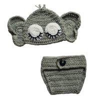 Lovely Crochet Sleeping Elephant Costume, hecho a mano de punto Baby Boy Girl Animal Hat con orejas y pañal Cover Set, Infant Toddler Photo Prop