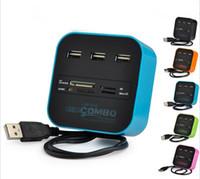 قارئ بطاقات متعددة الكل في واحد متعدد الاستخدامات مع 3 منافذ USB 2.0 محور تحرير وسرد لـ MMC / M2 / MS بالجملة من المصنع