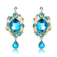 Nuova moda zaffiro grande gioiello di cristallo ciondola gli orecchini per le donne di lusso strass foglia fiori lunghi orecchini 18KGP regali di gioielli di partito