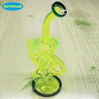 24CM verde fluorescente di vetro bong pipe Faberge Acqua tubi in vetro Bong bicchiere d'acqua Recycler filtro Percolatori fumatori
