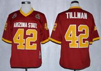 1997 روز بول ولاية أريزونا الشمس دفيس (ASU) بات تيلمان 42 كلية لكرة القدم الفانيلة المارون مخيط القمصان للرجال