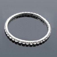 Cheap Silver Plated Bridal Bracelet Bling Bling 1 Row Rhines...