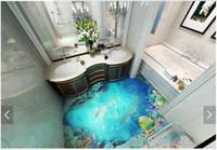 3D Wallpaper maßgeschneiderte 3d bodenmalerei wand papier 3d dunkel ozean bodenfliese stereograph bad boden boden wohnzimmer tapete