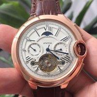 Alta Qualidade Mens Relógios Top Marca Tudo Sub-Dials Work Moda Genuine Leather Strap Mecânica Mecânica Relógios De Pulso Automático Para Homens Relógio de Presentes