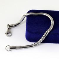 5 unids en el precio al por mayor a granel tono de plata de Acero Inoxidable de La Manera serpiente cadena redonda pulsera mujeres hombres 3.2mm 7.5 pulgadas