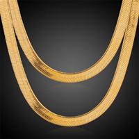 10mm 24 Zoll Mann Frauen Gelb Gold Farbe Gefüllt Überzogene Link Herringbone Halskette Ketten Schmuck Fabrik Großhandel Freies Verschiffen