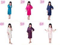 10pcs 6 colori di moda per bambini da notte per bambini Solid Silk kimono per Party Night Gown Pigiama M025