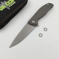 Espinho verde F95 Flipper faca dobrável D2 lâmina TC4 Titanium Flat handle bolso ao ar livre caça bolso faca de frutas EDC ferramentas